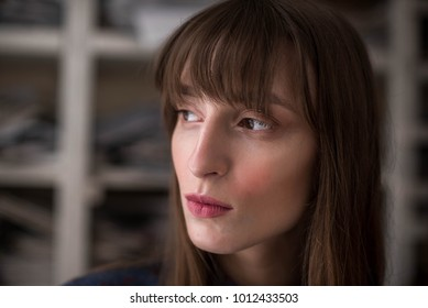 romantic girl looking left. woman face