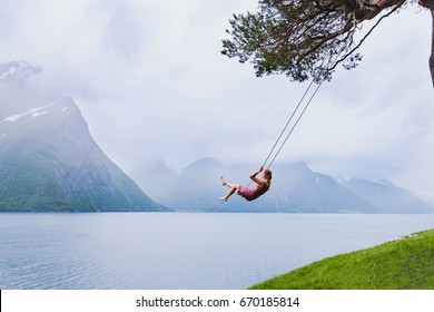 romantic girl on the swing, sweet dreams, daydream concept background
