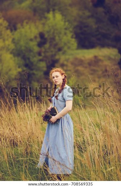 størrelse 7 butik god kvalitet Romantic Girl Reading Book On Nature Stock Photo (Edit Now ...