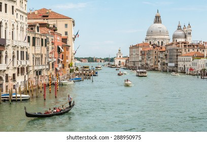 Romantic Gondola in Grand Canal, Venice