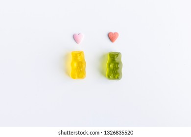 a9c5a0a00c157b romantic gummy bears with hearts on the head on white background