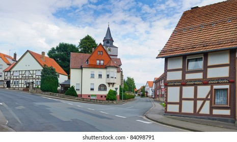 Romantic half-timbered old houses. A typical German village. Panorama