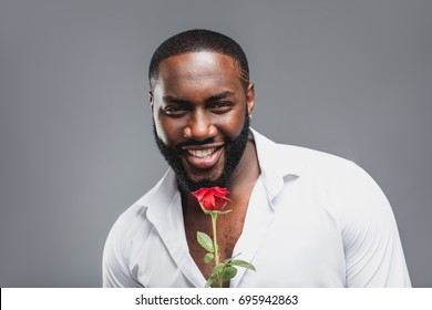 Romantic handsome man with red rose, African american sexy charming boyfriend with flower present