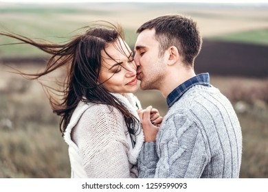 Romantic happy couple enjoy spending time together outdoor