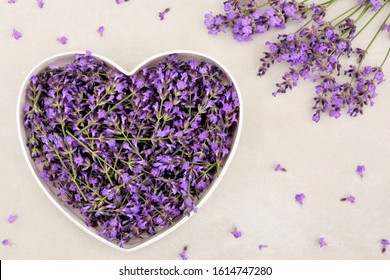 Romantic heart with lavender flowers