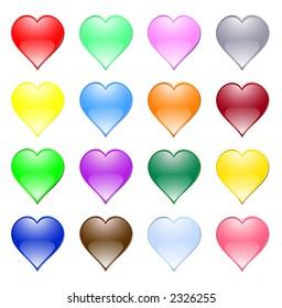 romantic icon: multi-coloured hearts. Vector