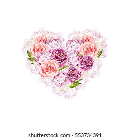 Romantic illustrations for Valentines Day. Watercolor card with flowers in a heart shape.