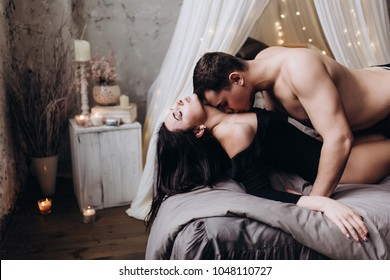 Romantic intimate photo session of a young couple.