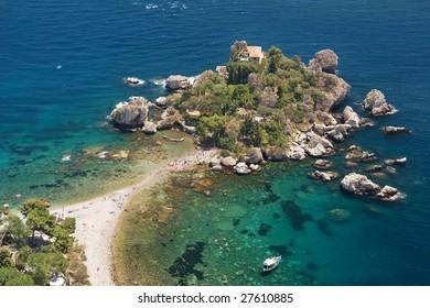 Romantic island Isola Bella in Taormina bay, Sicily