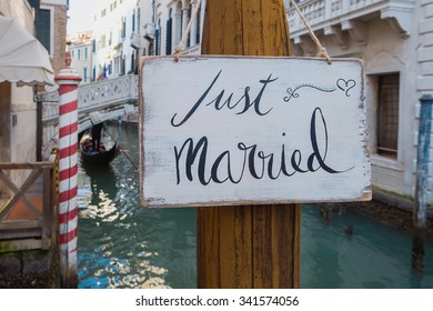 Romantic Just married sign in the canal in Venice