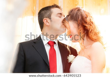 Romantic Kiss Newlyweds Husband Kiss His Stock Photo Edit Now
