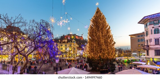 Romantic Ljubljana's city center decorated for Christmas holidays. Preseren's square, Ljubljana, Slovenia, Europe.