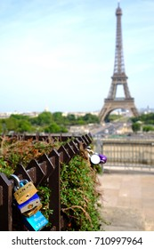 Romantic Love Locks in the Place du Trocadero in sight of the Eiffel Tower in Paris