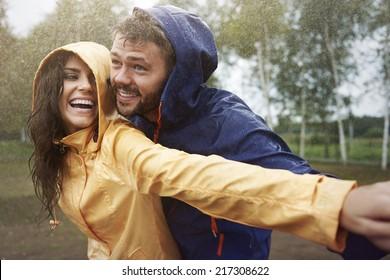 Romantic love in the pouring rain