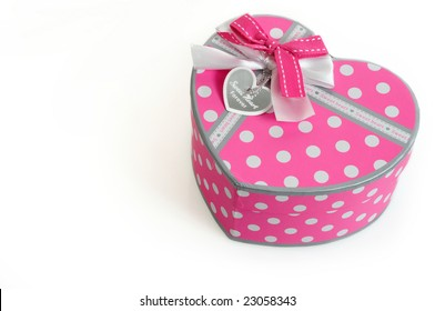 Romantic love shape gift box isolated on white background ready to use for Valentine's day celebration