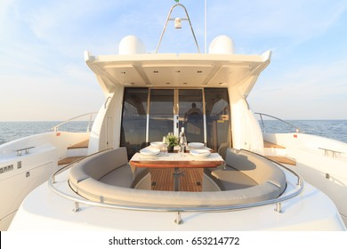romantic lunch on motor yacht, Table setting at a luxury yacht.