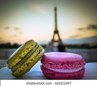 A Romantic Macaron Couple Admiring Eiffel Tower