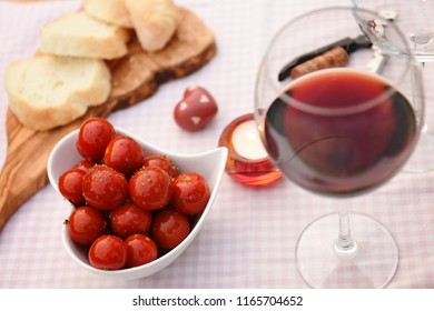 Romantic meal with a glass of red wine