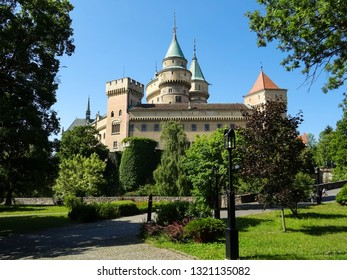 romantic medieval Bojnice castle (Bojnicky zamok) during sunny summer day, famous touristic attraction and popular movie set location for fairy tales and fantasy films, Slovakia, Central Europe