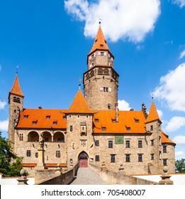 Romantic medieval castle Bouzov in Czech Republic.