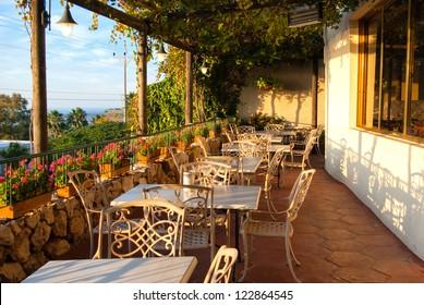 Romantic Mediterranean European style cafe bistro restaurant balcony with great view