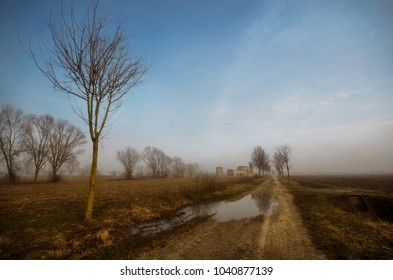 A romantic misty atmosphere in countryside: a dirt road with puddle with reflected trees and farmhouses in the background