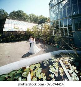 Romantic newlyweds posing in botanic garden, glass structure background