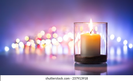 Romantic night with candlelight and bokeh background