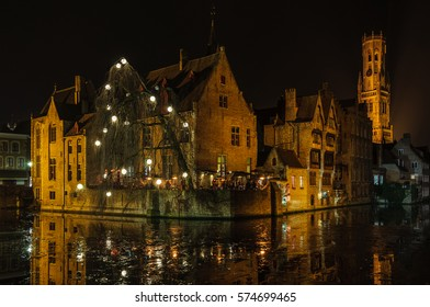 Romantic night scenery in the UNESCO World Heritage Old Town of Bruges, Belgium