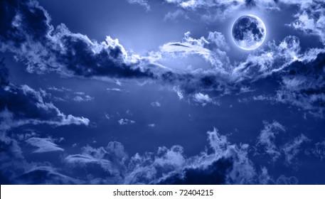romantic night sky lit by full moon
