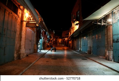 Romantic night streets in old city jerusalem