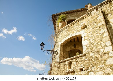 Romantic old French sandstone house in an old village Saint Paul de Vence, Provence, France