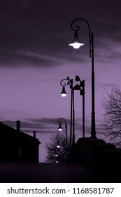 Romantic photo of a violet dusk on lonley street with decorative high lamps - book cover