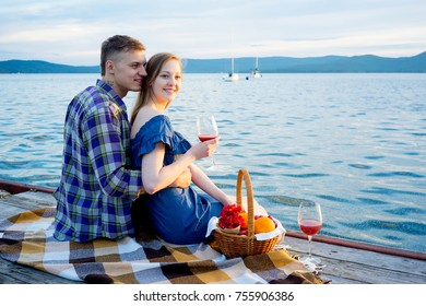 Romantic picnic by the lake