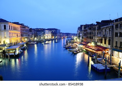 Romantic picture of canal in Venice at night
