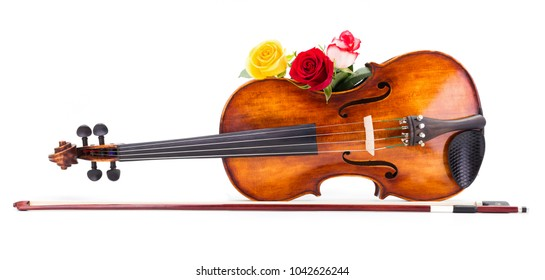 Romantic picture with violin and roses