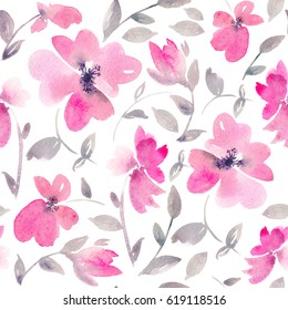 Romantic Pink Floral seamless Pattern. Watercolor wild fragile flowers on a white background. Fresh romantic design for invitation, wedding or greeting cards. Raster illustration