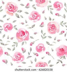 Romantic Pink Floral seamless Pattern. Watercolor fragile roses on a white background. Fresh romantic design for invitation, wedding or greeting cards. Raster illustration
