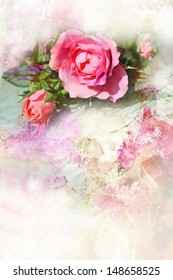 Romantic pink roses vintage background