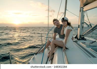 Romantic proposal scene on yacht