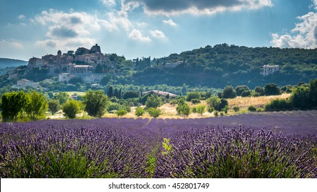 Romantic Provance - Hill Town above the lavender Field