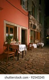 Romantic restaurant at night
