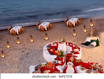 Romantic restaurant setting on a beach