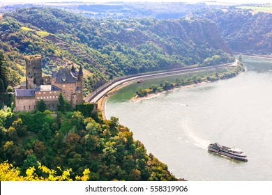 Romantic Rhine valley with beautiful medieval castles. Germany
