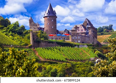 Romantic Rhine Valley river with gorgeous castles. Travel in Ger