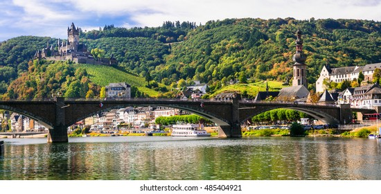 Romantic river Rhein - medieval Cochem town. View of bridge and castle