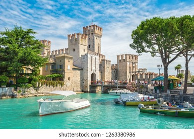 Romantic Rocca Scaligera, castle on the island of Sirmione, Lake Garda, Italy