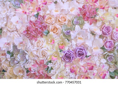 Romantic roses background in pastel color.