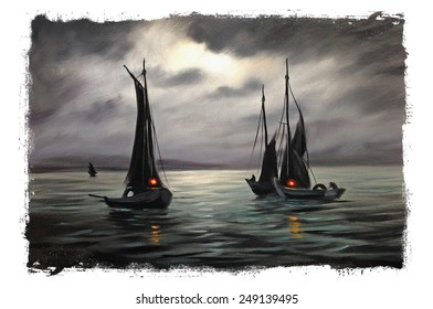 Romantic sailboat sunset Torn edges Vintage painting