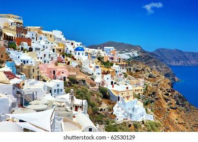 romantic Santorini, view of Oia town